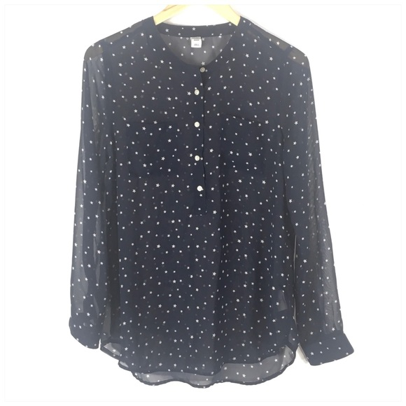 Old Navy Tops - Old Navy Star Print 1/2 Button Semi Sheer Top